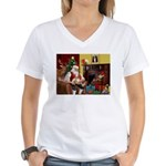 Santa's Whippet Women's V-Neck T-Shirt