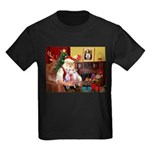 Santa & his 2 Whippets Kids Dark T-Shirt