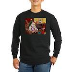 Santa & his 2 Whippets Long Sleeve Dark T-Shirt
