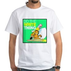 Garfield Writing White T-Shirt