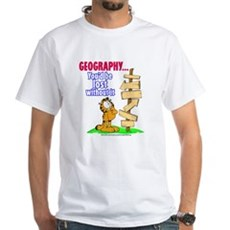 Geography Garfield White T-Shirt