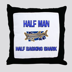 Half Man Half Basking Shark Throw Pillow