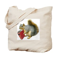 Squirrel with Book Tote Bag