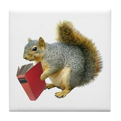 Squirrel with Book Tile Coaster