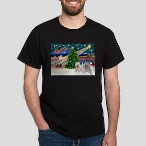 Xmas Magic & 2 Westies Dark T-Shirt