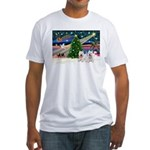 Xmas Magic & 2 Westies Fitted T-Shirt