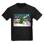 Xmas Magic & 2 Westies Kids Dark T-Shirt