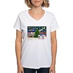 Xmas Magic & 2 Westies Women's V-Neck T-Shirt
