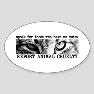 Report Animal Cruelty Cat Oval Sticker