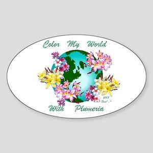 Plumeria World Oval Sticker