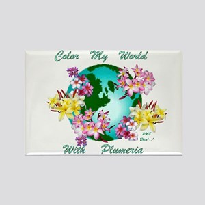 Plumeria World Rectangle Magnet