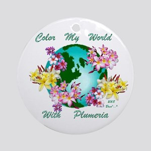 Plumeria World Ornament (Round)