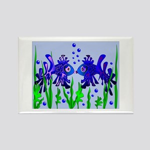 Blue Fish Lovers Rectangle Magnet