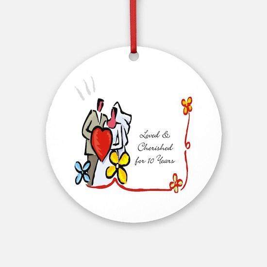 10th wedding anniversary gift Ornament (Round)