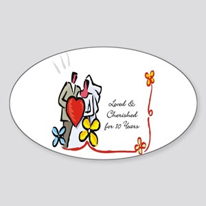 10th wedding anniversary gift Oval Sticker