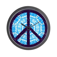 Tie-dye Peace Sign Wall Clock