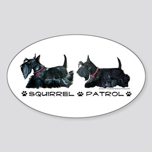 Scottie Squirrel Patrol Terri Oval Sticker