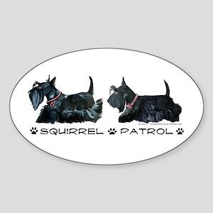 Scottie Squirrel Patrol Terri Oval Sticker