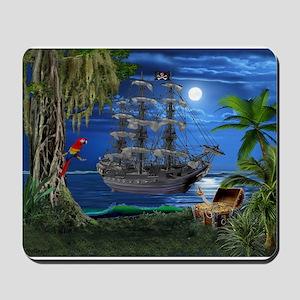 Mystical Moonlit Pirate Ship Mousepad