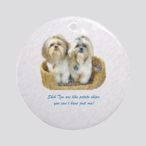 Shih Tzu Pop Art Ziggy & Nemo Ornament (Round)