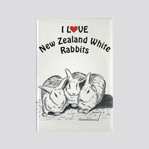 I Love NZW Rabbits Rectangle Magnet