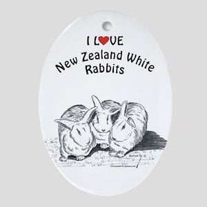 I Love NZW Rabbits Oval Ornament