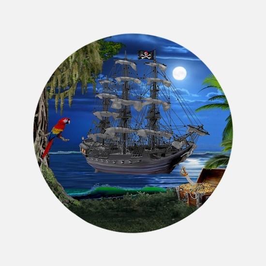 Mystical Moonlit Pirate Ship Button