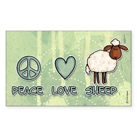 peace love sheep Rectangle Sticker