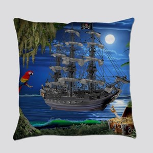 Mystical Moonlit Pirate Ship Everyday Pillow