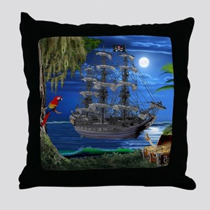 Mystical Moonlit Pirate Ship Throw Pillow