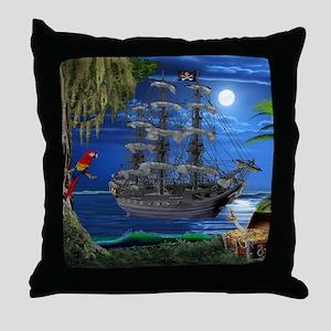 Mystical Moonlit Pirate Ship Throw Pillow