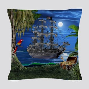 Mystical Moonlit Pirate Ship Woven Throw Pillow