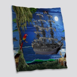 Mystical Moonlit Pirate Ship Burlap Throw Pillow