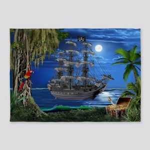 Mystical Moonlit Pirate Ship 5'x7'Area Rug
