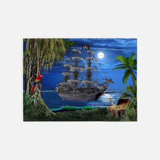 Mystical Moonlit Pirate Ship 5'x7'Area Rug