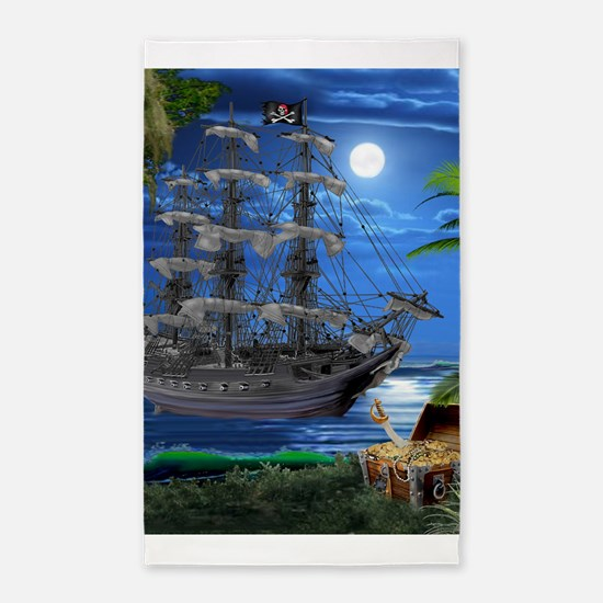 Mystical Moonlit Pirate Ship Area Rug