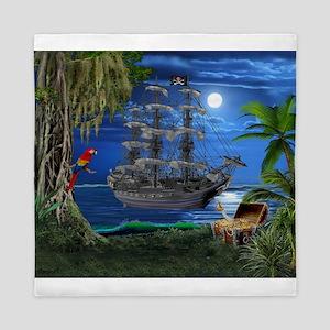Mystical Moonlit Pirate Ship Queen Duvet