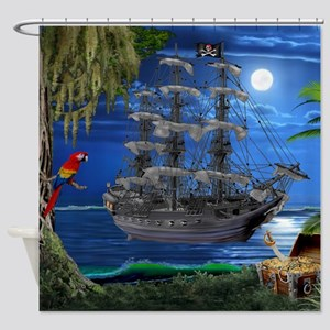 Mystical Moonlit Pirate Ship Shower Curtain