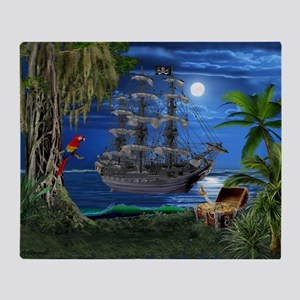 Mystical Moonlit Pirate Ship Throw Blanket
