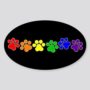 Paw Print Pride Oval Sticker