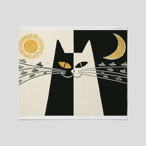 Black and White Vintage Cat Throw Blanket