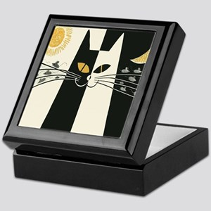 Black and White Vintage Cat Keepsake Box