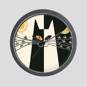 Black and White Vintage Cat Wall Clock
