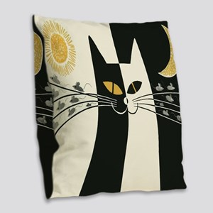 Black and White Vintage Cat Burlap Throw Pillow