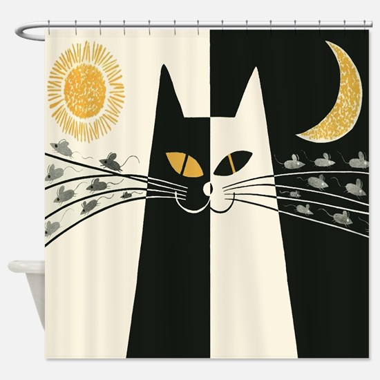 Black and White Vintage Cat Shower Curtain