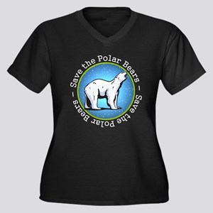 Save the Polar Bears Women's Plus Size V-Neck Dark