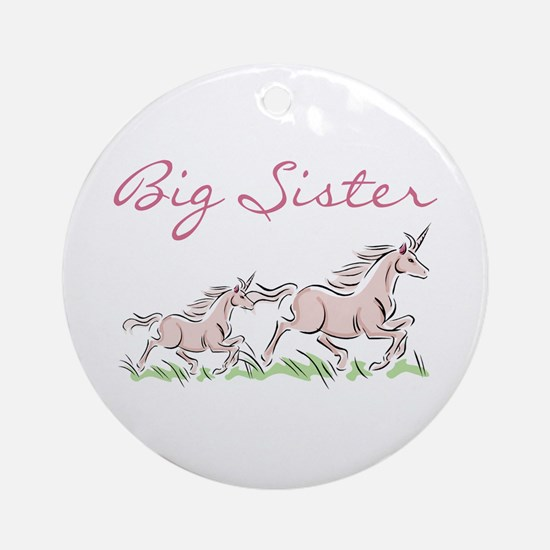 Unicorn Big Sister Ornament (Round)