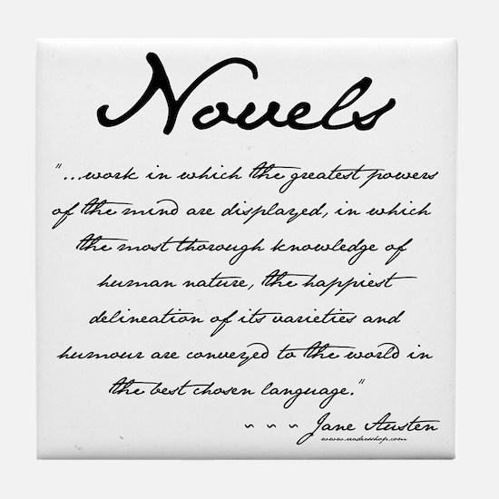 Jane Austen on Novels Tile Coaster