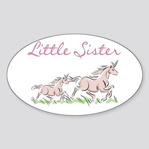 Unicorn Little Sister Oval Sticker