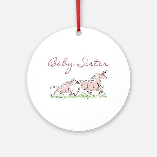 Unicorn Baby Sister Ornament (Round)